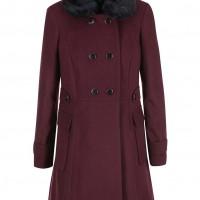 Vínový kabát s kožešinovým límcem, ZOOT