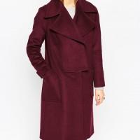 Vínový oversized kabát, ASOS