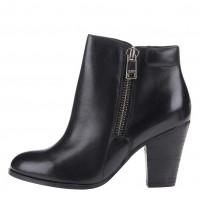 Černé kožené kotníčkové boty
