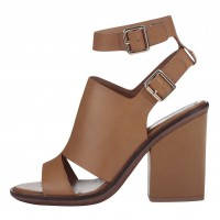Hnědé kožené sandály na podpatku ALDO