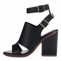 Černé kožené sandály na podpatku ALDO