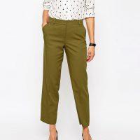Khaki elegantní kalhoty