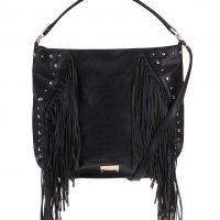 Černá velká kabelka s třásněmi
