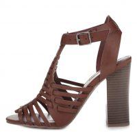 Hnědé sandálky na podpatku