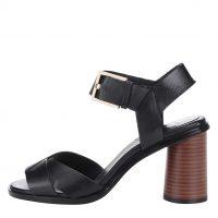 Černé kožené sandály na podpatku