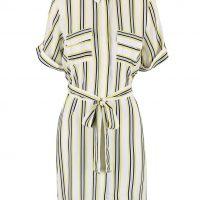 Krémové košilové šaty s páskem a barevnými pruhy