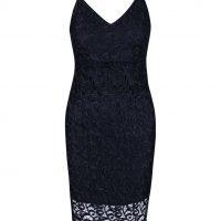 Tmavě modré krajkované šaty na ramínka