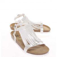 Bílé lesklé dámské sandály s třásněmi