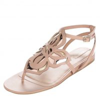 Béžové sandály s květinovým zdobením