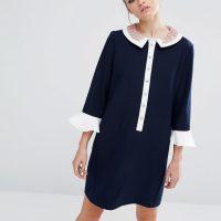 Tmavě modré šaty s 3/4 rukávy