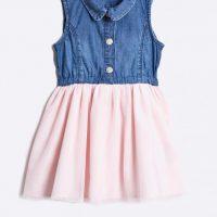 Dívčí šaty s denimovou vestičkou