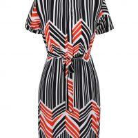 Krémovo-černé pruhované šaty s mašlí