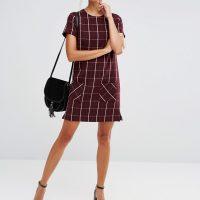 Vínové kostkované šaty