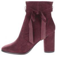 Vínové semišové kotníkové boty