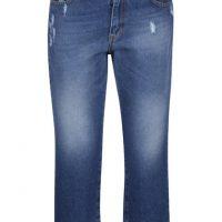 Modré 3/4 džíny s děrovaným efektem