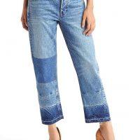 Tříčtvrteční džíny s tmavě denimovými proužky