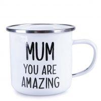 Bílý plechový hrnek Mum You Are Amazing