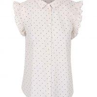 Krémová puntíkovaná košile s volány