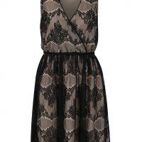 Černo-béžové krajkové šaty