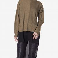 Prodloužený khaki svetr