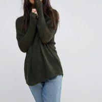 Khaki oversized svetr
