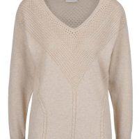 Béžový svetr s jemným perforovaným vzorem