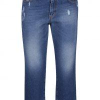 Modré 3/4 džíny s potrhaným efektem