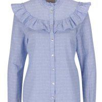 Světle modrá pruhovaná košile s volánky