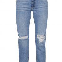Modré džíny s potrhaným efektem