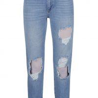 Světle modré džíny s potrhaným efektem