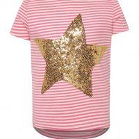 Růžové holčičí pruhované tričko s hvězdou