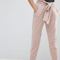 Zkrácené pruhované kalhoty s mašlí