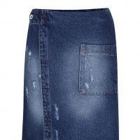 Modrá džínová zavinovací sukně
