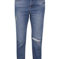 Modré zkrácené slim fit džíny s výšivkami