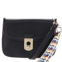 Růžovo-černá crossbody kabelka