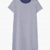 Šaty s tmavě modrou gingham kostkou