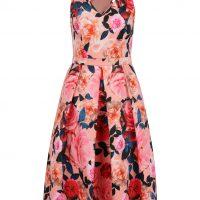 Růžové květované šaty s překříženými ramínky na zádech