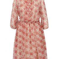 Béžovo-červené květované šaty s vázankou