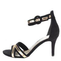 Černé sandálky na podpatku s detaily ve zlaté barvě