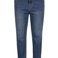 Modré rovné džíny s vysokým pasem