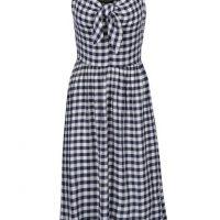 Krémovo-modré kostkované šaty s mašlí