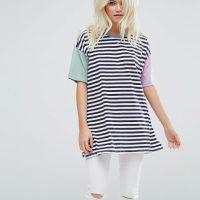 Pruhované tričko s barevnými rukávy