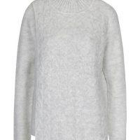 Světle šedý svetr s překládaným předním dílem