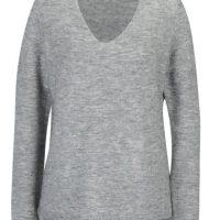 Šedý dámský žíhaný svetr s příměsí vlny