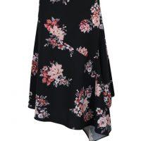 Černá květovaná asymetrická sukně