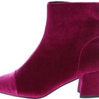 Tmavě růžové sametové kotníkové boty