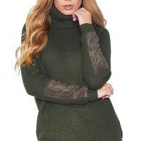 Rolákový khaki svetr