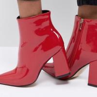 Červené lakované boty na podpatku